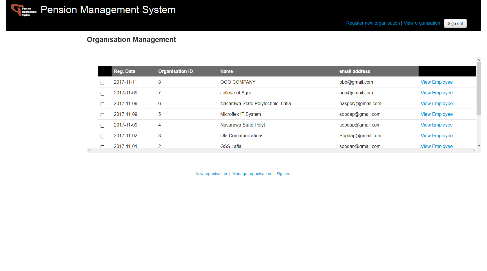 Pension Management System - Employee Details