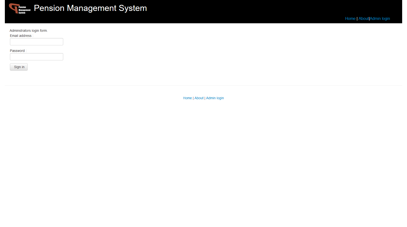 Pension Management System - Admin Login Paga
