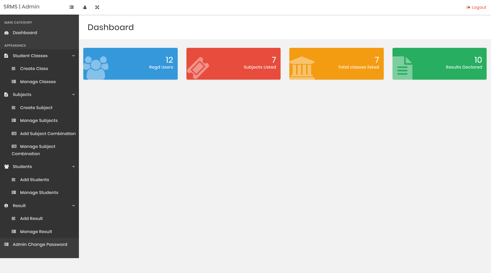 Dashboard Automated Result Grading System